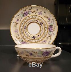 KTK Lotus Ware TEA CUP SAUCER Globe design purple flower GOLD Knowles Taylor
