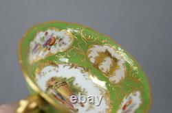 Klemm Dresden Hand Painted Watteau Scene Green & Raised Gold Tea Cup & Saucer A