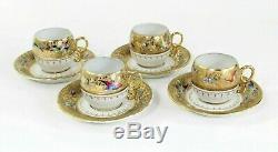 LE TALLEC PARIS FRANCE DEMITASSE 8 Piece 4 CUPS & SAUCERS COFFEE SET GOLD
