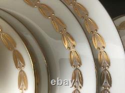 Lenox Antoinette 62 Piece Service Dinner Salad Bread Plates Cup Saucers Gold M35