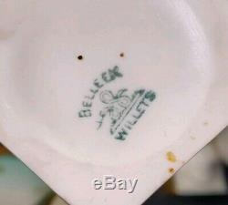 Lenox Belleek Willets Gold White Gardenia Coffee Pot Creamer Sugar Cups Saucers