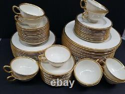 Lenox Tuxedo J-33 USA Dinnerware Cups Saucers (76) Gold Gilt Trim Backstamp