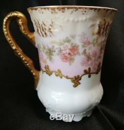 Limoges Demitasse Cup & Saucer Heavy Hand Enameled gold and Roses c. 1900