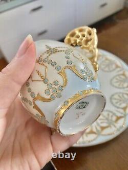 Limoges France T&V Jeweled Raised Gold Tea Cup Saucer Turquoise Tressemanes Vogt