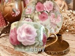 Limoges France Tea Cup & Saucer Hand Painted Roses & Gold