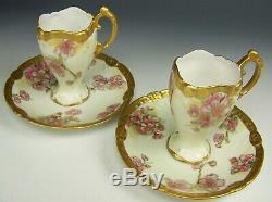 Limoges Hand Painted Apple Blossoms Gold Chocolate Cups & Saucers Ornate Handle