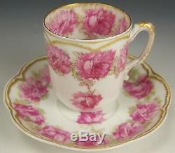 Limoges Haviland Drop Rose Double Gold Demitasse Tea Cup Saucer (a)