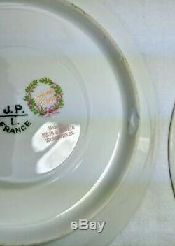 Limoges J Pouyat France Floral Roses Acorn Border Gold Trim Cup & Saucer Lot 5