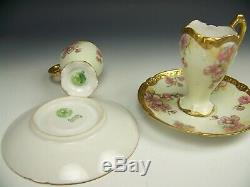 Limoges Marshall Field H-painted Apple Blossoms Gold Chocolate Cups & Saucers B