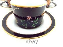 Lynn Chase Jaguar Jungle Set Of Six Porcelain Cups And Saucers Black Gold Jaguar