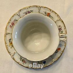 MEISSEN GOLD WHITE GREEN Coffee TEA CUP SAUCER & SALAD PLATE Set Trio Germany