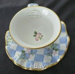 Mackenzie Childs Honeymoon Blue Check Morning Glory Cup & Saucer Gold Trim