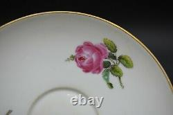 Meissen German Hand Painted 18th Century Pink Roses & Gold Tea Cup & Saucer