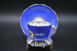 Meissen German Hand Painted Flowers Cobalt Blue & Gold Tea Cup & Saucer Set