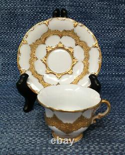 Meissen Gold Encrusted Scalloped Cup Saucer Set Germany Pattern MSS9999 EUC