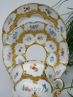 Meissen Golden Baroque Tea Cup, Saucer and Dessert Plate