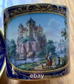 Meissen Große Tasse Schloßansicht Und Figuren Kobaltblau Fond Cup Saucer 1. Wahl