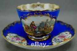 Meissen HP Cattle Herding Scene Floral Blue & Gold Tea Cup & Saucer C. 1860-1924