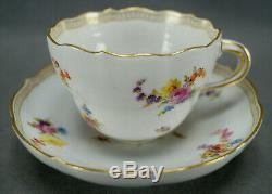 Meissen Hand Painted Floral Butterflies & Gold Tea Cup & Saucer Circa 1860-1924
