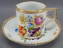 Meissen Marcolini Hand Painted Dresden Floral & Gold Coffee Can / Cup & Saucer