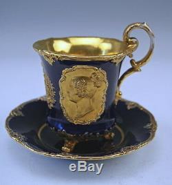 Meissen Sammel Tasse Gold Kobaltblau Friedrich August Cup Saucer Um 1860 Rare