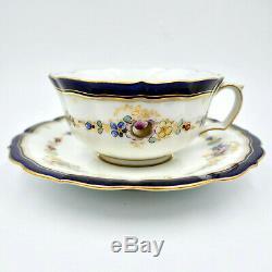 Meissen Tea Cup Saucer Hand Painted Floral Gold Porcelain Germany Vintage
