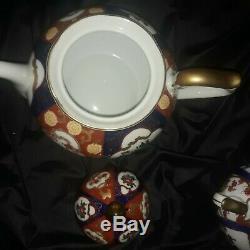 Mint Gold Imari Tea Set Teapot Sugar Creamer 5 Teacups / Cups & Saucers
