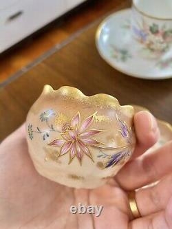 Mint Limoges T & V France Tea Cup Saucer Duo Raised Gold HP Flower
