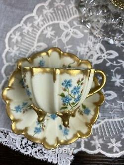 Mint Limoges T & V France Tea Cup Saucer Gold HP Flower 3 Footed Scallop Shape
