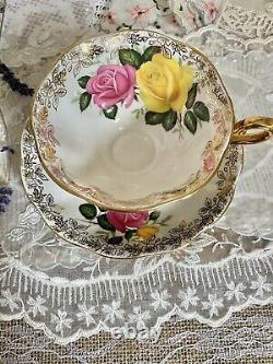 Mint Royal Albert Bone China England Black and Gold Tea Cup & Saucer with Roses