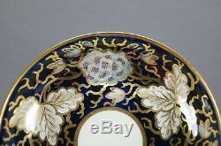 Minton 776 White Flowers Cobalt & Gold Leaves Tea Cup & Saucer Circa 1800-1830