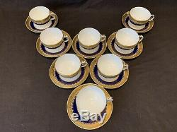 Minton G3950 Cup and Saucers Set of 8 Gold Encrusted Cobalt Blue Enameled