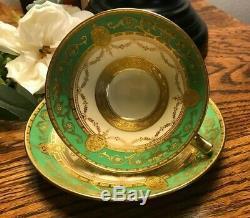 Minton Green Gold Encrusted Tea Cup & Saucer EUC
