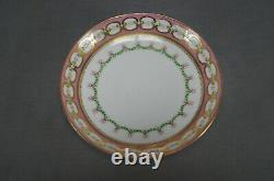 Minton Hand Painted Floral Pompadour Pink & Gold Coffee Cup & Saucer C. 1860s B
