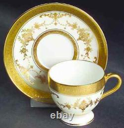 Minton Riverton Demitasse Footed Coffee Cups & Saucers Raised Gold Pattern
