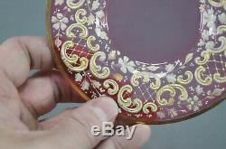 Moser Bohemian Enameled Ivory & Gold Floral Cranberry Glass Cup & Saucer 1880 B