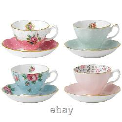 NEW Royal Albert Vintage Mix Teacup & Saucer Set 8pce