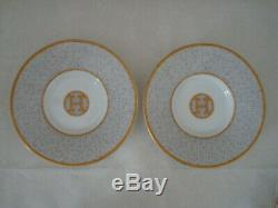 New Hermes Mosaique au 24 Gold Porcelain Coffee 2 Tea Cups and Saucers Box