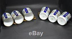 Nippon Chocolate Pot Set Blue with Gold Gilt 6 Cups & Saucers Morimura 1911-21