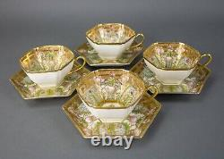Nippon Hand Painted Embellished Gold Moriage Floral Tea Cups Saucers Rare Set 4