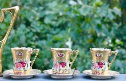 Nippon Pink Roses Gold Morriage Jeweled Chocolate Set Pot, 5 Cups and Saucers