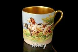 OLD ENGLISH PAINTED by R HINTON SETTERS LANDSCAPE SCENE GOLD CUP SAUCER SET BR