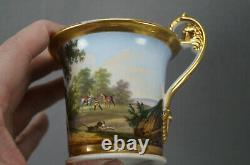 Old Paris Hand Painted Horses Stag Hunt Scene & Gold Cup & Saucer C. 1820-1830