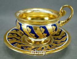 Old Paris Porcelain Gold Leaves & Cobalt Panels Empire Form Cup & Saucer C. 1820