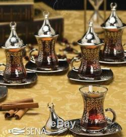 Ottoman Arabic Golden Zamac Tea Saucers Cups Serving Set for 6 with Tulip Spoon