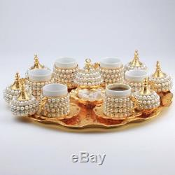 Ottoman Turkish Gold Brass Tea Coffee Saucers Cups BEST Tray Set FREE SHIPPING