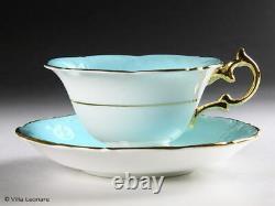 PARAGON Aqua Blue & Gold Pink Rose Cup & Saucer Vintage