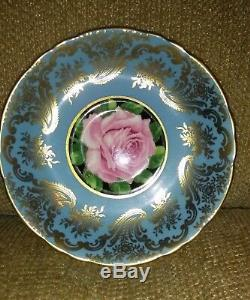 PARAGON China Tea Cup & Saucer Teal & Gold Cabbage Rose Old Mark A. 1695/3 Signed