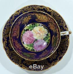 PARAGON Fancy CHRYSANTHEMUM CUP & SAUCER Cobalt Blue & Heavy Gold Filigree MINT