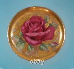PARAGON JOHNSON RED ROSE CUP & SAUCER Rose Garland & Floating Rose Gold Saucer